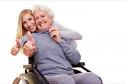 senior woman and her caregiver showing their thumbs up